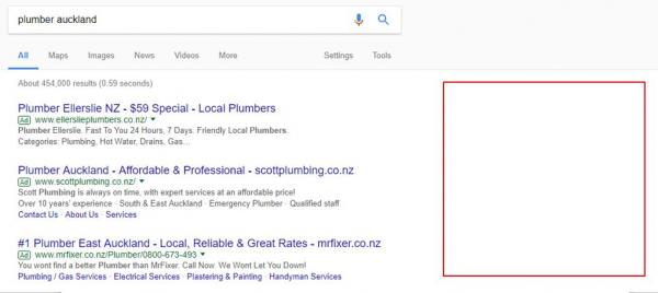 google removes ads from right side of google